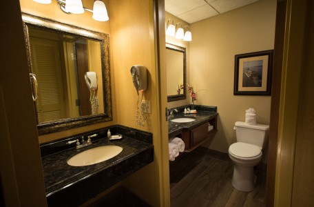 Our Deluxe Rooms Include Dual Vanity's with Sinks